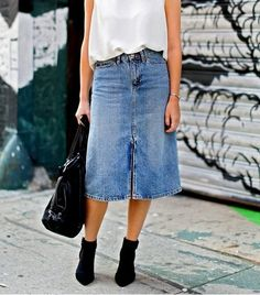 Front slit denim skirt, white top, bag, ankle boots