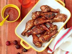 Cherry BBQ Chicken Drumsticks Recipe courtesy of Pat and Gina Neely