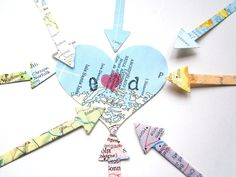 arrows and hearts, with maps