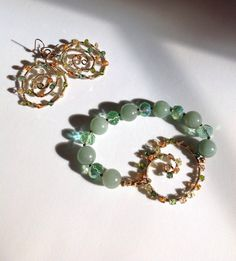 Green Aventurine and crystals earrings and by MarielaCorteJewels
