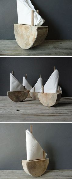 Sailboat napkin holder // slice of wood and couple of dowels // very cute!!