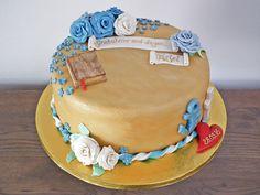 Konfirmasjonskake med symboler som bibel og tro, håp og kjærlighet {Bakemagi.no} Birthday Cake, Desserts, Food, Tailgate Desserts, Deserts, Birthday Cakes, Essen, Postres, Meals