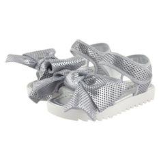 Kids Cavern - Simonetta Mini SS17 Silver Bow Sandals 47354 - Armani Junior, D&G, Childrens Clothing, Designer clothes, fashion, Kids Cavern, D and G, Kids Clothing