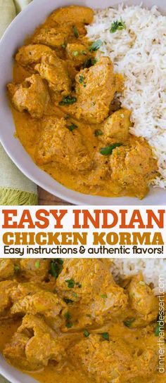 Indian Chicken Korma – Dinner, then Dessert Chicken Korma is a traditional Indian dish that's light and flavorful almond curry made with tomato paste, plenty of spices and cream thats buttery and completely delicious. Indian Chicken Recipes, Easy Indian Recipes, Healthy Chicken Recipes, Asian Recipes, Cooking Recipes, Ethnic Recipes, Indian Chicken Korma Recipe, Chicken Korma Recipe Coconut Milk, Indian Chicken Curry