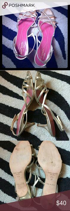 Kate Spade gold sligbacks Gorgeous gold Kate Spade sligback sandals with 2 1/2 in heel.  Minimal wear,  reasonable offers! Kate Spade Shoes Sandals