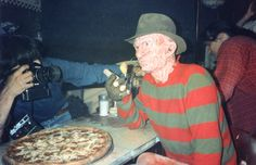 """Robert Englund as Freddy Krueger filming the """"soul pizza"""" scene in A Nightmare on Elm Street 4: The Dream Master (1988)."""