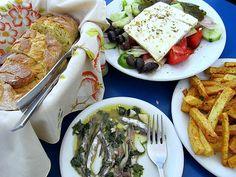 sardines in oil and vinegar at Penelope's restaurant in Pyrgos, Santorini, Greece