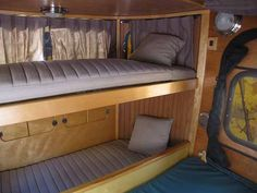 Camp-Inn Teardrop 560 Ultra (small) bunk beds, plus a queen, all in a tear-drop! the ultimate in tear-drop luxury (the bunkbeds change back into a couch--coolest thing ever!)