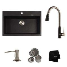 KRAUS All-in-One Dual Mount Granite Zero Hole Single Bowl Kitchen Sink with Faucet in Stainless or Spotless Black Onyx offers flexible functionality. Single Sink Kitchen, Granite Kitchen Sinks, Single Bowl Sink, Single Bowl Kitchen Sink, Black Kitchens, Cool Kitchens, Kitchen Black, Kitchen Work Station, Black Sink