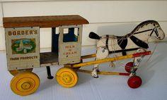 Antique Borden's Horse Drawn Milk Wagon Rich Toys by CoffeePotShop