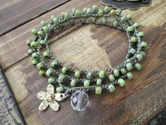 Rustic lime green Crochet wrap bracelet necklace by slashKnots