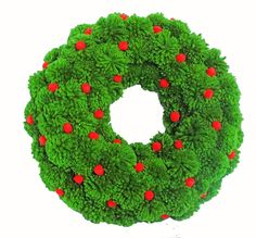Classic Christmas Wreath made of juicy green fluffy pom poms decorated with small felt baubles in red. Chosen green is very similar to a natural Christmas tree color - very juicy and vivid. Its an indoor wreath and will look gorgeous on the door or on the wall near your fireplace. Each