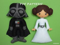 PDF pattern to make a felt Dark Vader and Princess by Kosucas