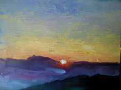"Small Oil Painting Daily Painting Sunset by CarolSchiffStudio, 6x8"", $95 From my latest trip to the mountains."