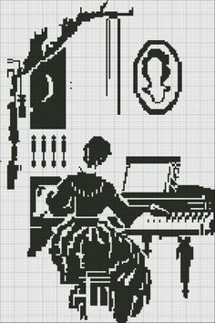 point de croix femme au piano , cross stitch woman and piano
