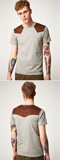 Izzue Shoulder Patch Crew Neck T-Shirt Basic Shirt suede patch mens style fashion blog:
