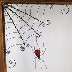 """18""""  Barbed Wire Corner Spider Web With Red Spider by thedustyraven on Etsy https://www.etsy.com/listing/503904083/18-barbed-wire-corner-spider-web-with"""