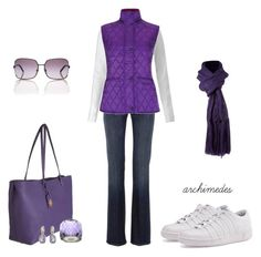 """""""Purple People Eater"""" by archimedes16 ❤ liked on Polyvore featuring 7 For All Mankind, Whistles, Barbour, K-Swiss, Fendi, Linea, Swarovski, RALPH, women's clothing and women"""