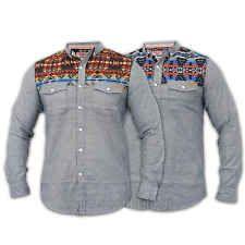 POLO da Uomo Tokyo Laundry Denim Camicia Casual Vintage Formale Work Shirt a Manica Corta