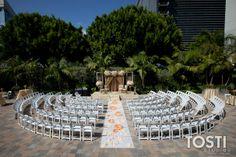 Outdoor ceremony space. Semi circle around altar