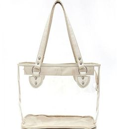 White Studded Clear Tote Bag