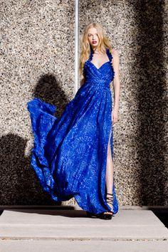 Jacqueline Long Ruffle Neck Maxi.  Daria Platform Sandal
