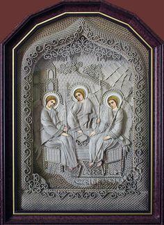 macrame, macrame art, St. Nicolas icons, icons art, religious icons, russian religious icons, icons art. Applied art. Trinity. Denshchikov Vladimir