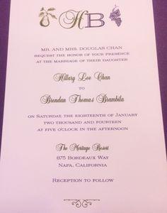 #Napa Style #Wedding #Invitation; www.hyegraph.com
