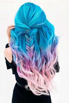 Sweet blue and pink hair colors - Haarfarben Blue And Pink Hair, Hair Color Pink, Hair Dye Colors, Cool Hair Color, Long Face Hairstyles, Pretty Hairstyles, Mermaid Hairstyles, Rainbow Hairstyles, Crazy Hairstyles