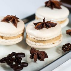 Star Anise Espresso Macarons with Pear and Cinnamon Jelly is a classic macaron with a sophisticated and elegant twist. Gluten free too.