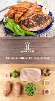 Grilled Montreal Chicken Breast with roasted hot honey sweet potatoes and snow peas