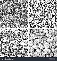 Set of abstract seamless patterns: swirls, leaves, peacocks, waves.