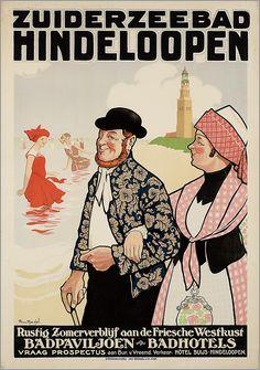 Zuiderzeebad Hindeloopen. Badpaviljoen. Badhotels. - affiche uit 1920-1930 #vintage