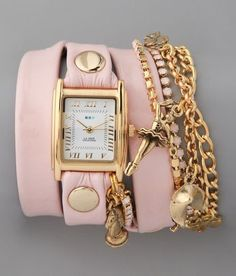 La Mer Collections Crystal Ballerina Chain Wrap Watch (Pink)