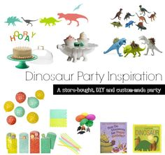 Our bright, simple and FUN dinosaur birthday party plan using store-bought, DIY and custom-made items.