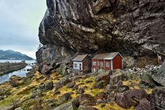 House under the rocks in Norway