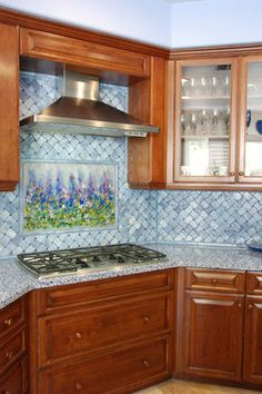 Blue Lavender Glass Backsplash