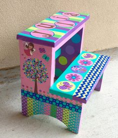 Childrenu0027s Hand Painted Step Stool by CuteKidCreations on Etsy : childrens step stools hand painted - islam-shia.org