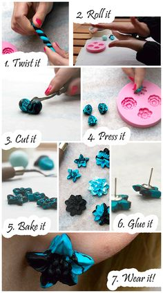 Polymer Clay Earrings (Tutorial with photographs) from This Color Corner (thiscolorcorner.blogspot.com, facebook, instagram and pinterest)