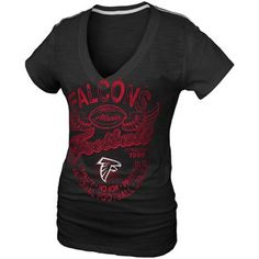 Atlanta Falcons Ladies Gunner Glitz T-Shirt - Black  #fanatics