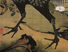 伊藤若冲/Jakuchu Ito Chicken Bird, Chinese Painting, Beautiful Artwork, Asian Art, Japanese Art, Artworks, Oriental, Moose Art, Portraits
