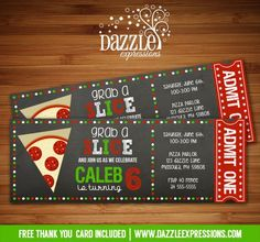 Grab a slice and head on over to Dazzle Expressions to get this printable chalkboard Pizza Ticket birthday invitation!   Pizza Party   Digital File   Kids Birthday Party Idea   FREE thank you card   Party Package Available   Banner   Cupcake Toppers   Favor Tag   Food and Drink Labels   Signs   Candy Bar Wrapper   www.dazzleexpressions.com: