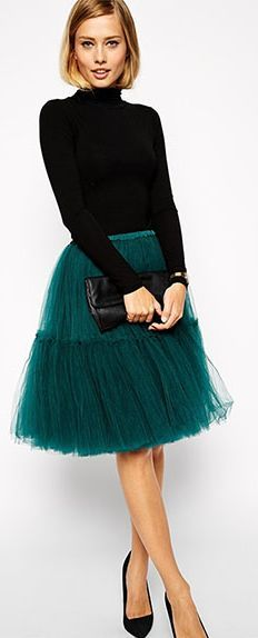 Teal tulle skirt, love this for the holidays