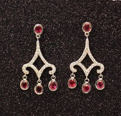 Exclusive Ruby and Diamond Earrings from Wong Ken's. Diamond Chandelier Earrings, Drop Earrings, Garnet Earrings, Diamond Necklaces, Modern Jewelry, Vintage Jewelry, Fine Jewelry, Beautiful Earrings, Beautiful Necklaces