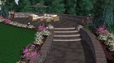 An exquisite Hilltop patio designed with Belgard pavers #3DLandscapeDesign