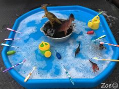 Washing Dinosaurs Tuff Tray Small World Scene Childcare Activities, Nursery Activities, Dinosaur Activities, Toddler Learning Activities, Infant Activities, Indoor Activities, Family Activities, Dinosaur Small World, Dinosaur Play