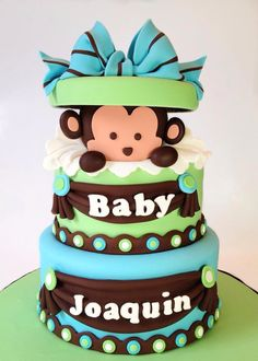 Monkey baby shower cake for @Amélie Falcon-Borduas onéreuse day