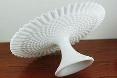 Vintage Fenton Hobnail White Milk Glass Ruffle Cake Plate /  Stand on Etsy, $85.00