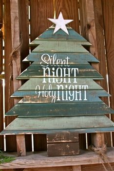 Silent Night, Holy Night Handcrafted Tree Sign.