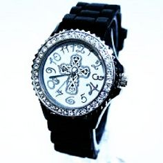 Peace Be With U - Black Christian Watch - Round Face - Silicone Rhinestoned, $19.99 (http://www.peacebewithu.com/black-christian-watch-round-face-silicone-rhinestoned/)